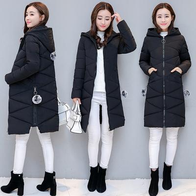 冬季女装加厚外套修身女棉衣中长款韩版毛球连帽棉服棉袄子女冬装