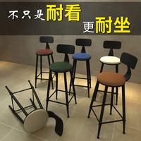 铁艺家用复古吧台椅 现代简约实木欧式酒吧桌椅前台圆椅子高脚凳