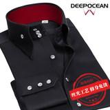 丝光纯棉黑色衬衫男长袖修身韩版潮流帅气男士寸商务休闲男式衬衣