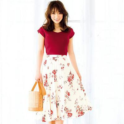 19春夏 日系少女风 优雅宽松红色V领无袖针织衫 短款背心毛衫