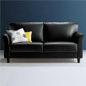 北欧小户型简约黑色皮艺沙发日式客厅办公单人双人三人位pu皮沙发