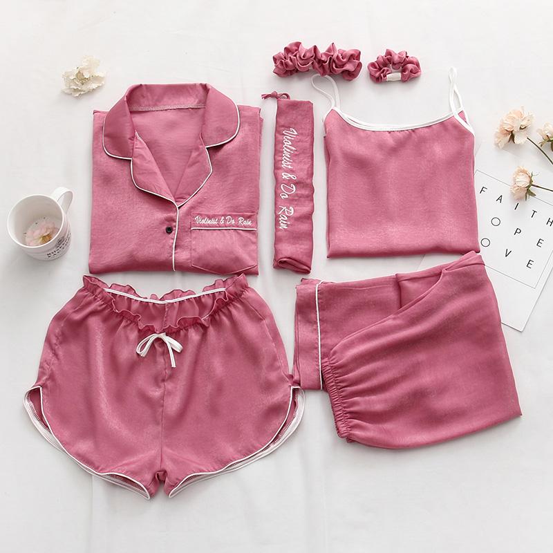 睡衣女夏七件套冰丝绸睡衣春秋短袖性感雪纺吊带背心家居服套装