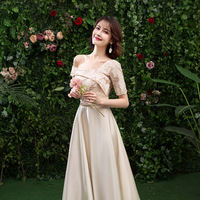 Rental 2019 new bridesmaid dress Western-style Slim sisters dress large size spring and summer girlfriends chorus wedding dress
