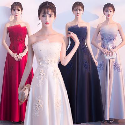 晚礼服女2018新款长款抹胸名媛派对显瘦主持人宴会高贵优雅伴娘服