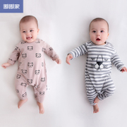 嘟嘟家 新生儿衣服春秋韩版婴儿服0-3个月长袖哈衣宝宝连体衣秋装