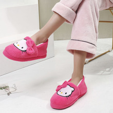 Autumn and Winter New Cotton Slippers Female Cartoon Cat Soft Bottom Packing heel Thick Bottom Moon Shoes Anti-skid Warm Indoor Home Shoes Female