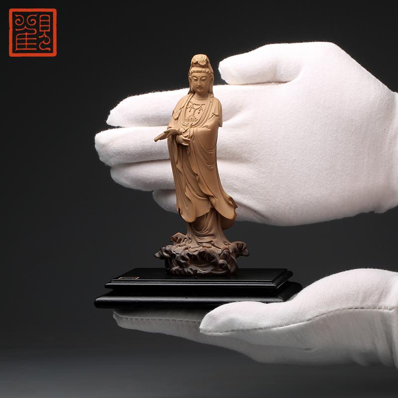观复博物馆小立持观音石雕摆件台湾林昭发铁丸石观音佛像立像供奉