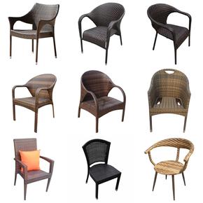藤椅子 藤编桌椅户外阳台庭院花园室外露台餐厅高靠背椅休闲单椅