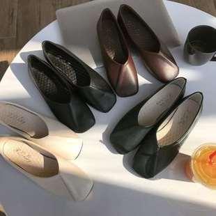 平底单鞋女简约浅口软皮方头舒适休闲复古懒人豆豆奶奶鞋掷