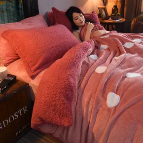 珊瑚绒纯色加厚法兰绒四件套1.8m床上用品被套莱法绒冬季床单床笠