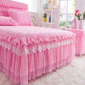 夹棉床裙单件加棉床笠床罩加厚席梦思防滑床群床头罩纯色蕾丝婚庆