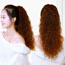 Wig Woman Euro-American Hip-hop Corn Hot Long Curly Hair Hiphop Net Red Lovely Puffy Bind-clip Horsetail Braid