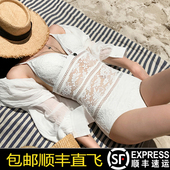 高冷女王韩国新款泳衣女连体比基尼性感露背遮肚蕾丝镂空温泉泳装