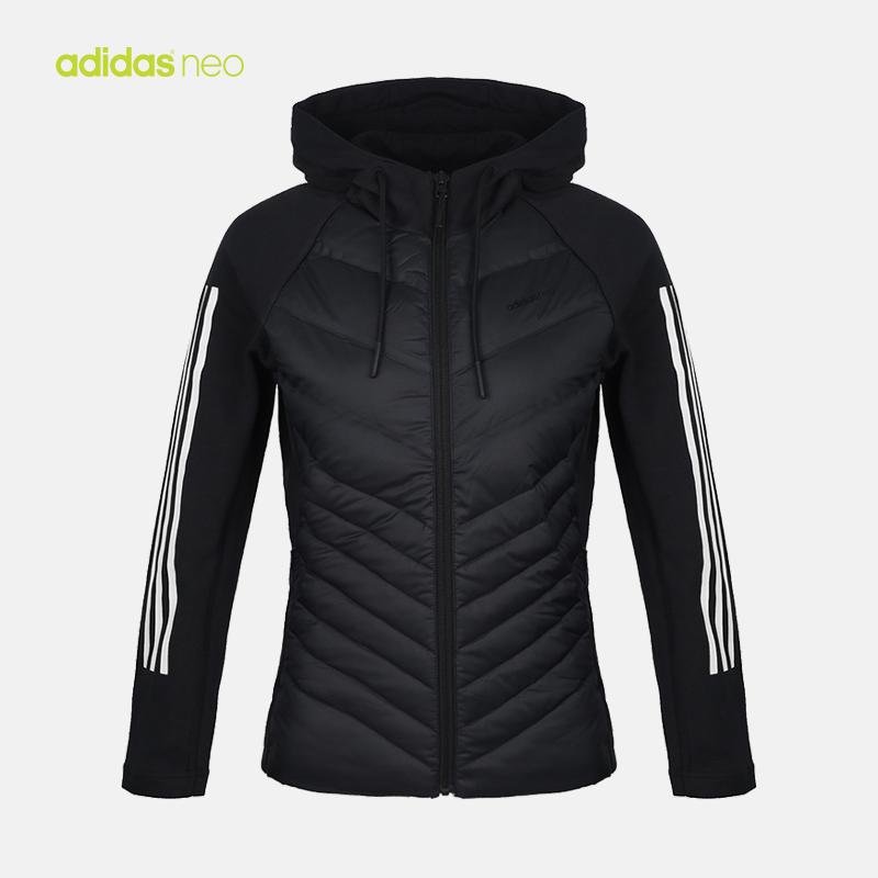 adidas neo阿迪休闲2018新款冬装女子短款羽绒服夹克外套DM4349