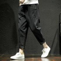 嘻哈街舞潮牌男女宽松侧开叉运动裤串标复古休闲校园长裤AMONSTER