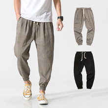 Buy men's casual pants on behalf of flax, Hallen pants, leggings, thin pants, fat people increase the pure color of Hong Kong breeze loose trousers