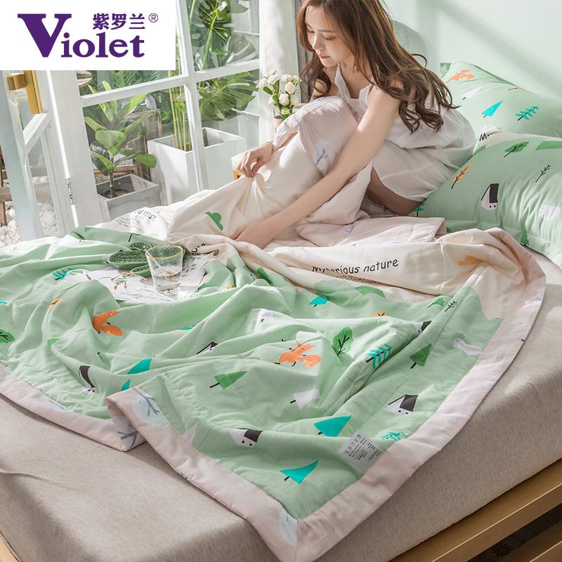 紫罗兰全棉被子空调被夏凉被棉被单人夏被纯棉春秋被双人学生宿舍