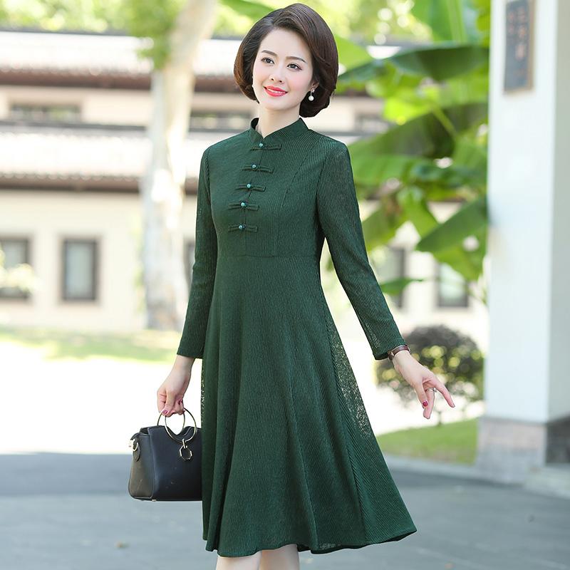 40-50岁妈妈装过膝裙子春秋装新款中老年优雅长袖气质中式连衣裙