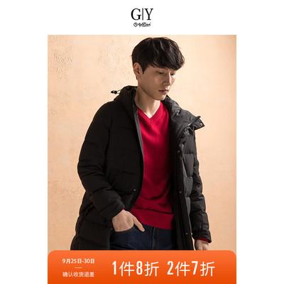 GYgoldlion/金利来GY服饰羽绒服男冬新款保暖加厚长款潮连帽外套
