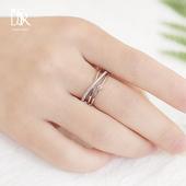S925纯银交叉镶钻食指戒指女日韩版潮人简约学生时尚个性开口指环