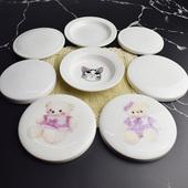 卡通动物杯盖子可爱陶瓷 圆形水杯盖马克杯盖配件带图案套盖全盖