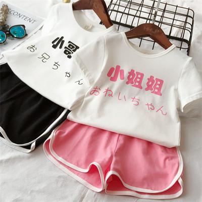 女童夏装2018新款儿童抖音网红小哥哥小姐姐休闲短袖短裤运动套装