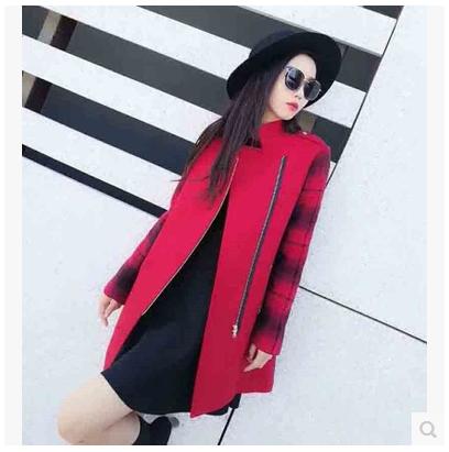 新颖哥弟特2017秋冬新款西装领红色拉链拼接羊毛呢外套格子风衣女