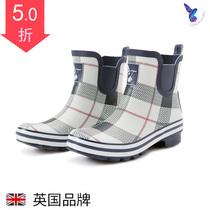 时尚水鞋侧拉链防滑粗高跟雨鞋大人短筒女雨鞋水靴拼色防水胶鞋