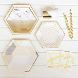 The new disposable party tray white marble gilt partyPaper plate dinner plate birthday party