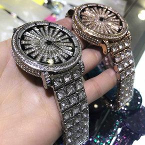绿色美人鱼时来运转钢带手表 水晶满钻雪花大表盘女个性石英腕表