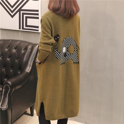 中长款针织开衫外套女2018秋装新款宽松显瘦韩版卡通毛衣外搭上衣