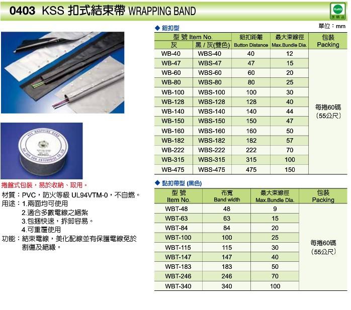 台湾原装进口 凯士士KSS 扣式结束带WB-47/WBS-47 电线保护套55米