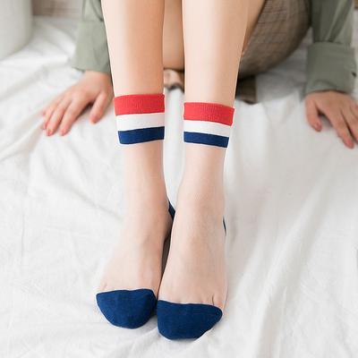 夏季中筒袜潮学院风袜子女韩国日系韩版玻璃丝薄款短袜透明袜可爱