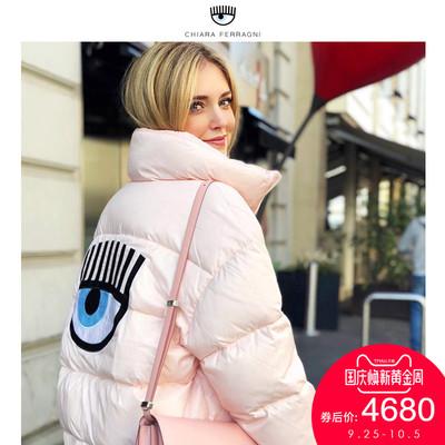Chiara Ferragni棉服女秋冬款欧美潮趣俏眼睛甜美面包服夹克外套