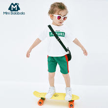 Mini Barabara Boys Short Sleeve Suit 2009 Summer New Baby Coloured Summer T-shirt Short Pants Two-piece Suit