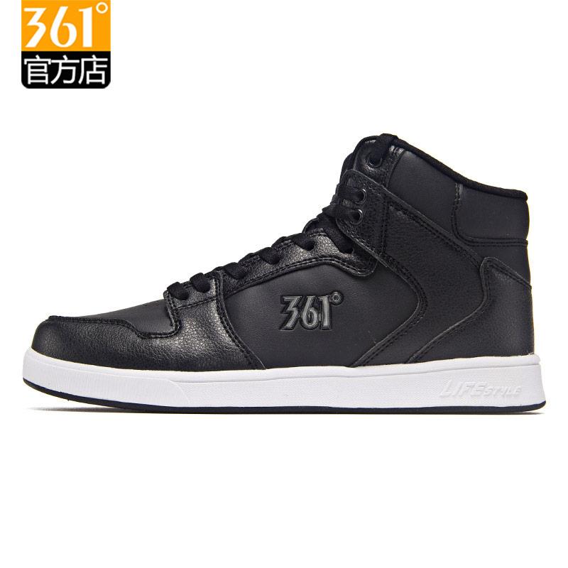 361高帮板鞋秋冬季女鞋361度运动鞋女正品平底黑色圆头学生休闲鞋