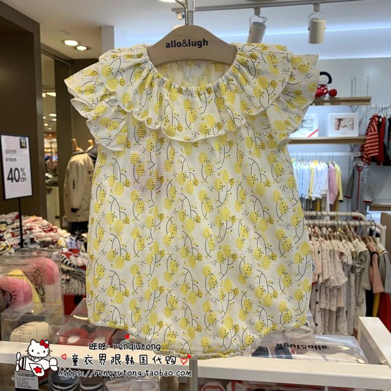 韩国童装专柜代购allo lugh阿路和如2019夏女童碎花哈衣连体衣潮