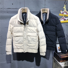 5MM winter short down jacket for men with lamb feather collar and white duck down jacket