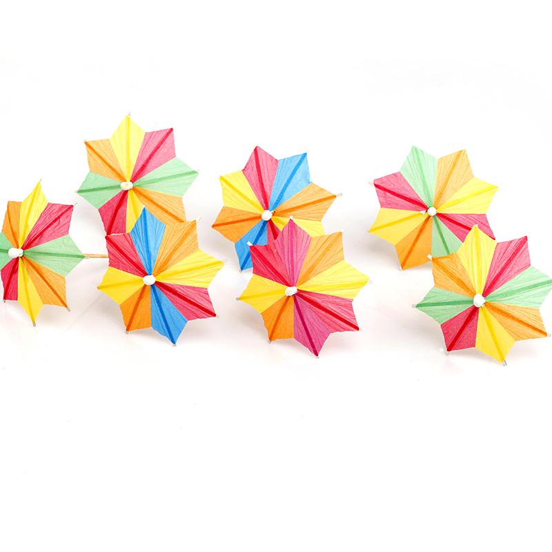 包邮小伞签八角花纸伞签鸡尾酒签工艺水果伞签蛋糕装饰用品144支