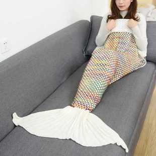 美人鱼尾毛毯鱼尾巴空调毯子沙发毯针织休闲毯午睡盖毯春季美人俏