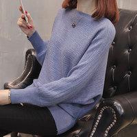 秋装新款毛衣女韩版2018秋冬一字领宽松套头蝙蝠衫百搭针织打底衫
