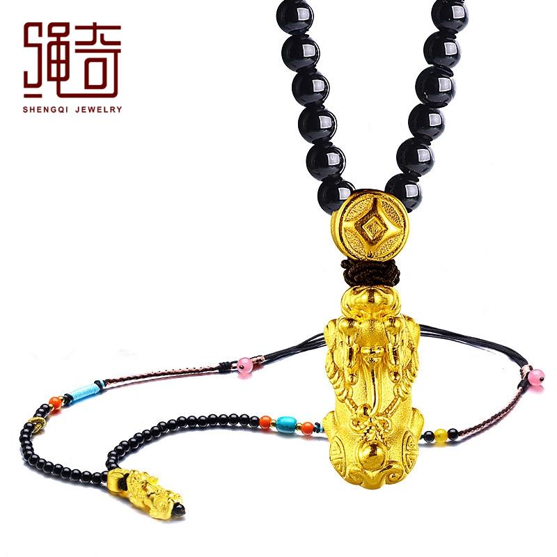 绳奇黄金貔貅吊坠项链 男3D硬金挂件足金黑玛瑙项链女款
