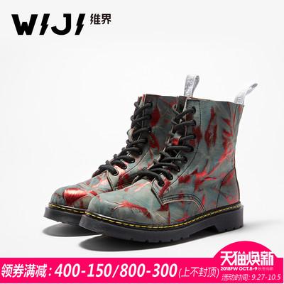 WIJI2018秋季新款时尚欧美马丁靴女撞色街拍系带松糕底牛皮高帮鞋