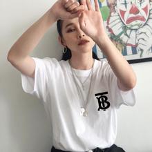 打底衫 BT半袖 宽松男女潮牌情侣装 B家网红同款 TB字母短袖 白色t恤图片