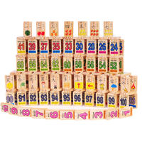 Early education wooden building blocks literacy domino children's intellectual power toys 1-3-6 years old baby one week child