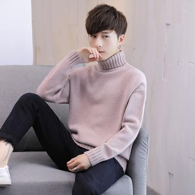 冬天毛衣外套男土韩版潮流高领打底衫男士修身型加绒加厚个性帅气