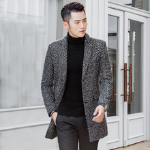 Fall and winter woolen overcoat men's medium and long Korean version of self-cultivation fashion thousand birds checked wool overcoat trend men's windbreaker