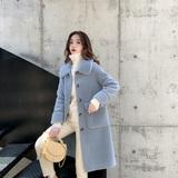 芭衫2019秋冬反季新款韩版颗粒绒大衣皮毛一体宽松中长款上衣外套