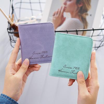 新款 ins钱包女两折短款学生韩版可爱简约时尚钱夹迷你女士零钱包