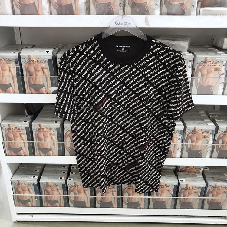 北美CK Calvin Klein 男士夏季圆领全身字母印花宽松短袖T恤 潮